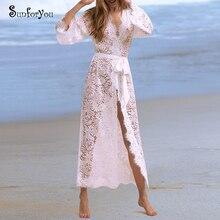 Кружевной пляжный халат de Plage Sarong, накидка для пляжа, Женский кафтан, бикини, накидка, белое пляжное платье, туника для пляжа