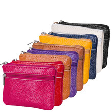 Soft Genuine Leather Men Women Card Coin Key Holder Zip Wallet Pouch Bag Purse(China)