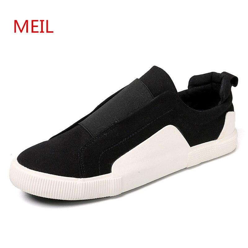 Hommes chaussures été mode noir blanc baskets toile chaussures plat respirant sans lacet chaussures décontractées pour hommes mocassins formateurs Tenis