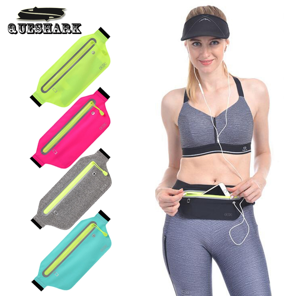Lightweight Zippered Running Waist Bag Headset Hole Phone Pack Reflective Travel Jogging Waist Pocket Bags