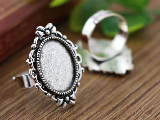 13x18mm 5pcs Antique Silver Color Plated Brass Oval Adjustable Ring Settings Blank/Base,Fit 13x18mm Glass Cabochons K6-09