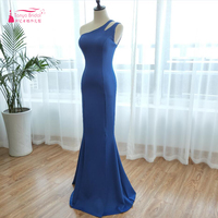 Royal Blue Evening Dresses 2018 Simple One Shoulder African Mermaid Long Prom Dresses Cheap Maid Of Honor Gowns ZE014 20