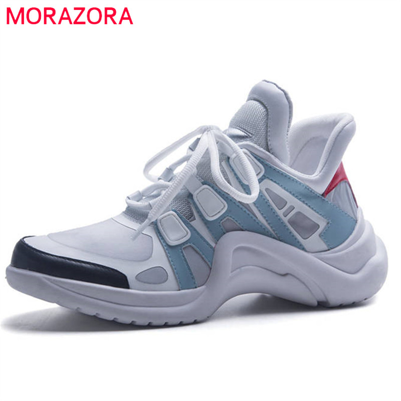 MORAZORA 2018 new fashion sneakers women lace up genuine leather spring autumn casual shoes round toe flat shoes woman asumer 2018 fashion spring autumn new arrival flat shoes woman round toe lace up casual women genuine leather flats sneakers
