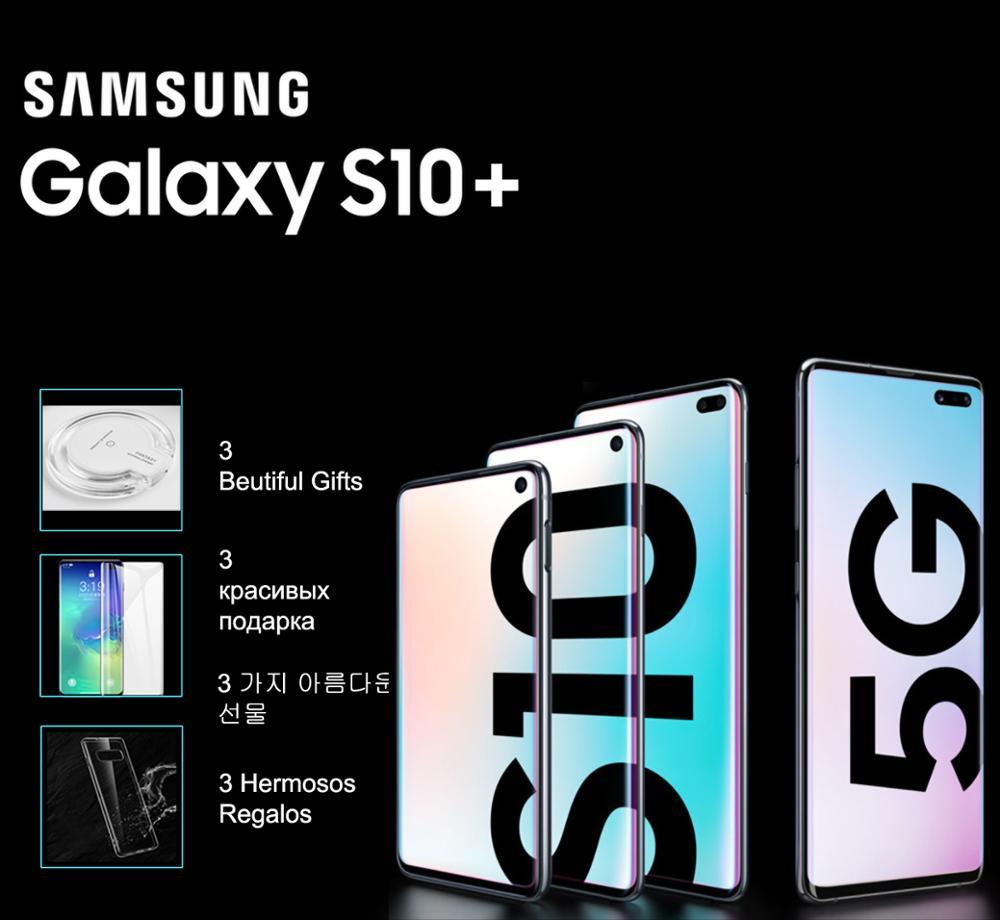Original nouveau Samsung Galaxy S10 5G/S10 + 6.7/6.4 Quad HD + dynamique AMOLED Infinity écran d'affichage à ultrasons identification d'empreintes digitales 256G