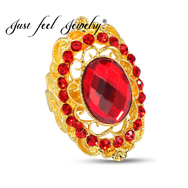 JUST FEEL Luxury Gold Color Finger Rings for Woman Crystal Flower Rhinestones Pa