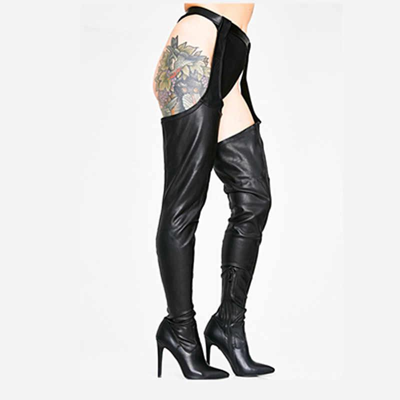 2019 Moda Seksi Parti Siyah Sivri Burun Yüksek Yüksek Diz Üzerinde Çizmeler Yüksek Topuklu Kasık Bağlı Bel Pantolon Botines ayakkabı Kadın
