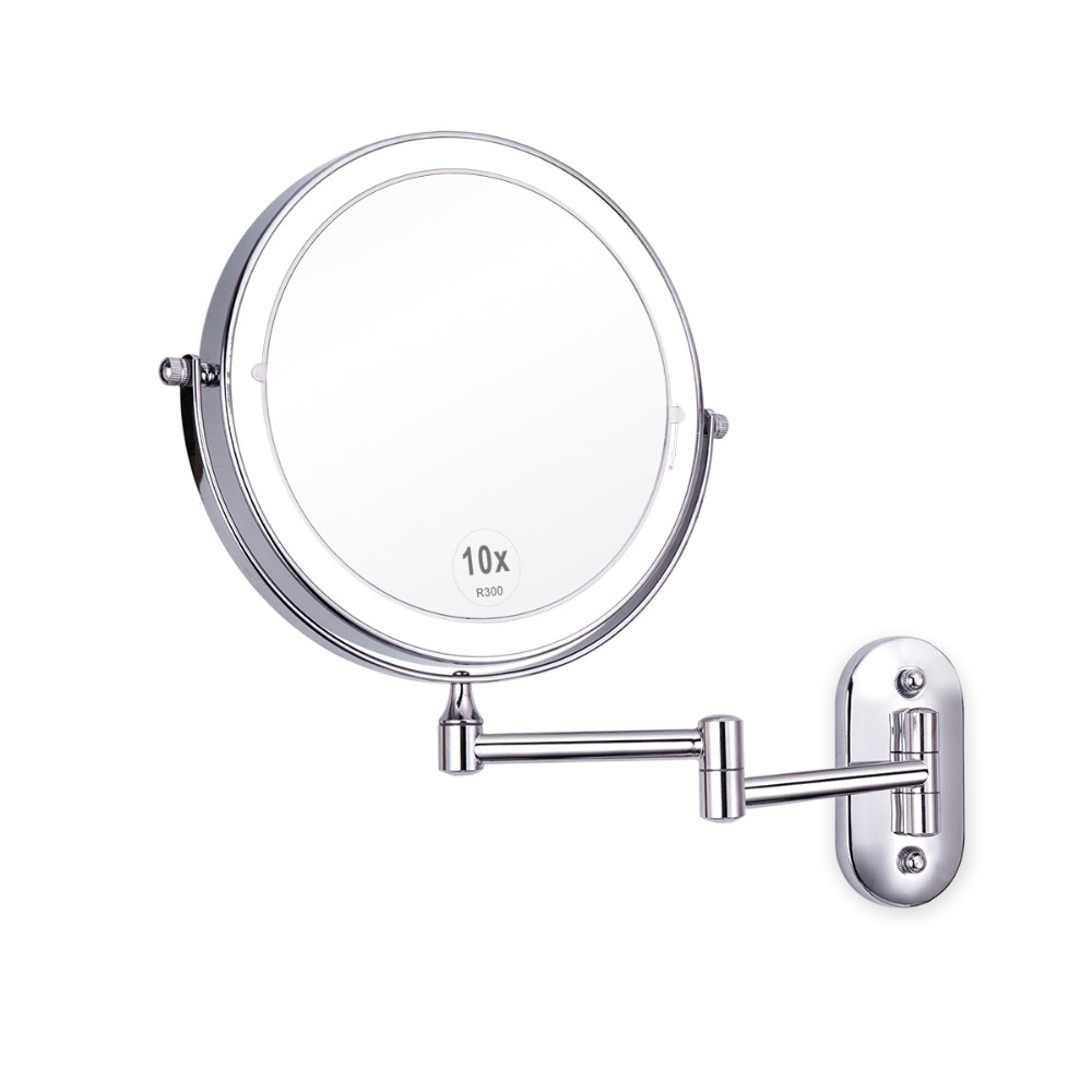 Us 40 46 30 Off 8inch Led Double Sided Swivel Wall Mount Vanity Mirror 3x 5x 10x Magnification Touch On Makeup In Mirrors From