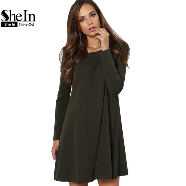 Shein shirt dress mujer de manga larga de cuello redondo t camisa ocasional dress verano de las señoras 2016 fashion short dress