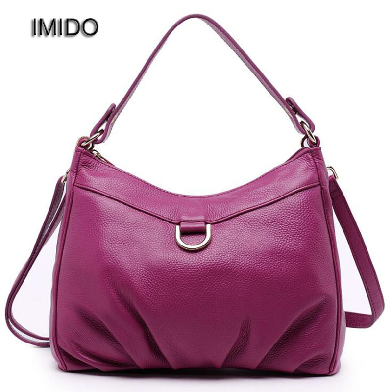 IMIDO Brand 2017 Women Messenger Bags Genuine Leather Bag Woman Handbags High Quality Cowhide Shoulder Bags Ladies Purple MG026 2017 new female genuine leather handbags first layer of cowhide fashion simple women shoulder messenger bags bucket bags