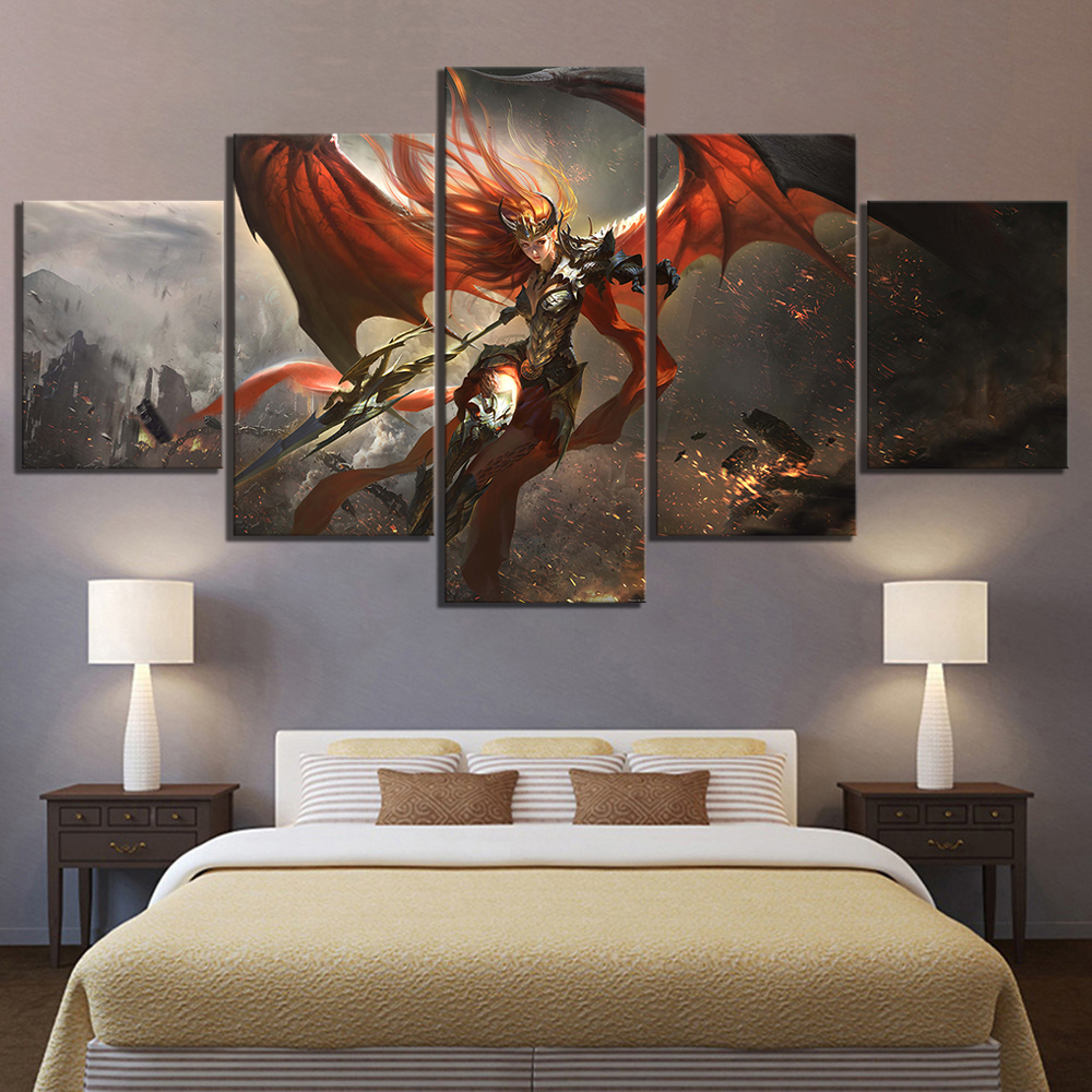 5 Panels HD Canvas Painting Home Decor Women Warrior Goddess Alliance Canvas Printed Game Poster Wall Art Pictures Framework