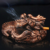 Ashtray Creative Living Room Home Accessories Imitation Copper New Decorative Original Wolong Ashtray Resin Home Decoration