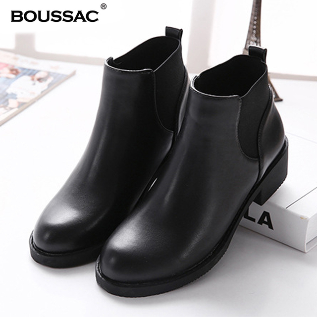 Black Chelsea Boots Women PU Leather Fur Warm Winter Boots Thick High Heel  Ankle Boots Round Toe Winter Women Shoes SWE0037 6df4758c8