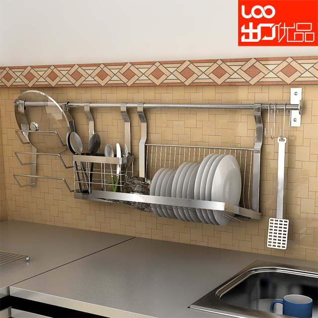 G1999 wall-mounted stainless steel dish rack shelf chopsticks tube pot rack combination & G1999 wall mounted stainless steel dish rack shelf chopsticks tube ...