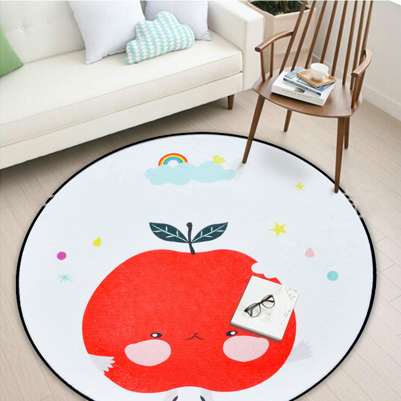 Nordic Style Round Rug Kids Baby Play Carpet Super Soft Coral Fleece Mat Baby Kids Room Carpet 60/80/100/120/150CM