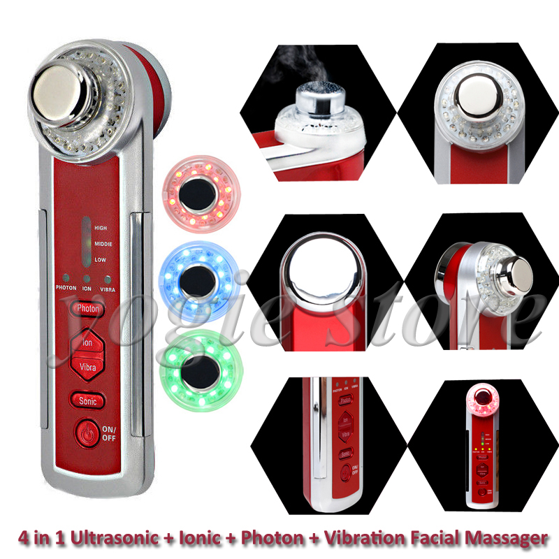 4in1 Ultrasonic+Galvanic+Photon+Vibration Facial Massager Face Cleaning LED Light Beauty Skin Care Body Massage Ionic Ultrasound 3mhz ultrasonic facial massager galvanic deep cleaning led light photon care acne removal skin rejuvenation face lift spa beauty