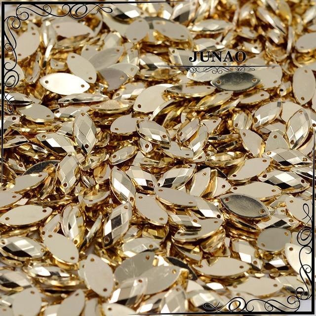 JUNAO 7*15 مللي متر الخياطة الذهب حجر الراين زين شقة الظهر الذهبي الاكريليك الأحجار الكريمة الحصان العين الكريستال حجر خياطة على ستراس للملابس