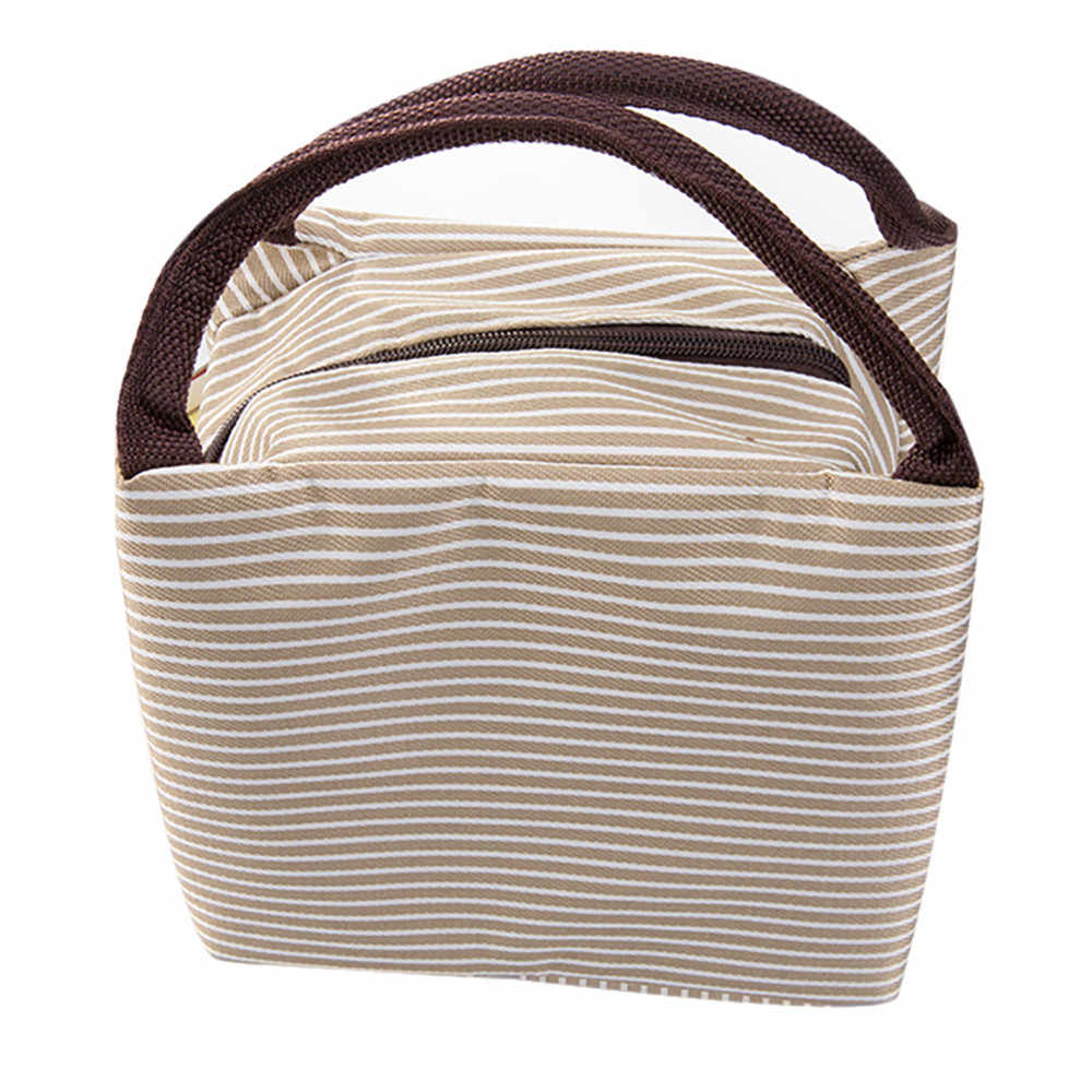 Insulated Lunch Bag Thermal Stripe Tote Bags Cooler Picnic Food Lunch box bag for Kids Women Girls Ladies Man Children 319Z