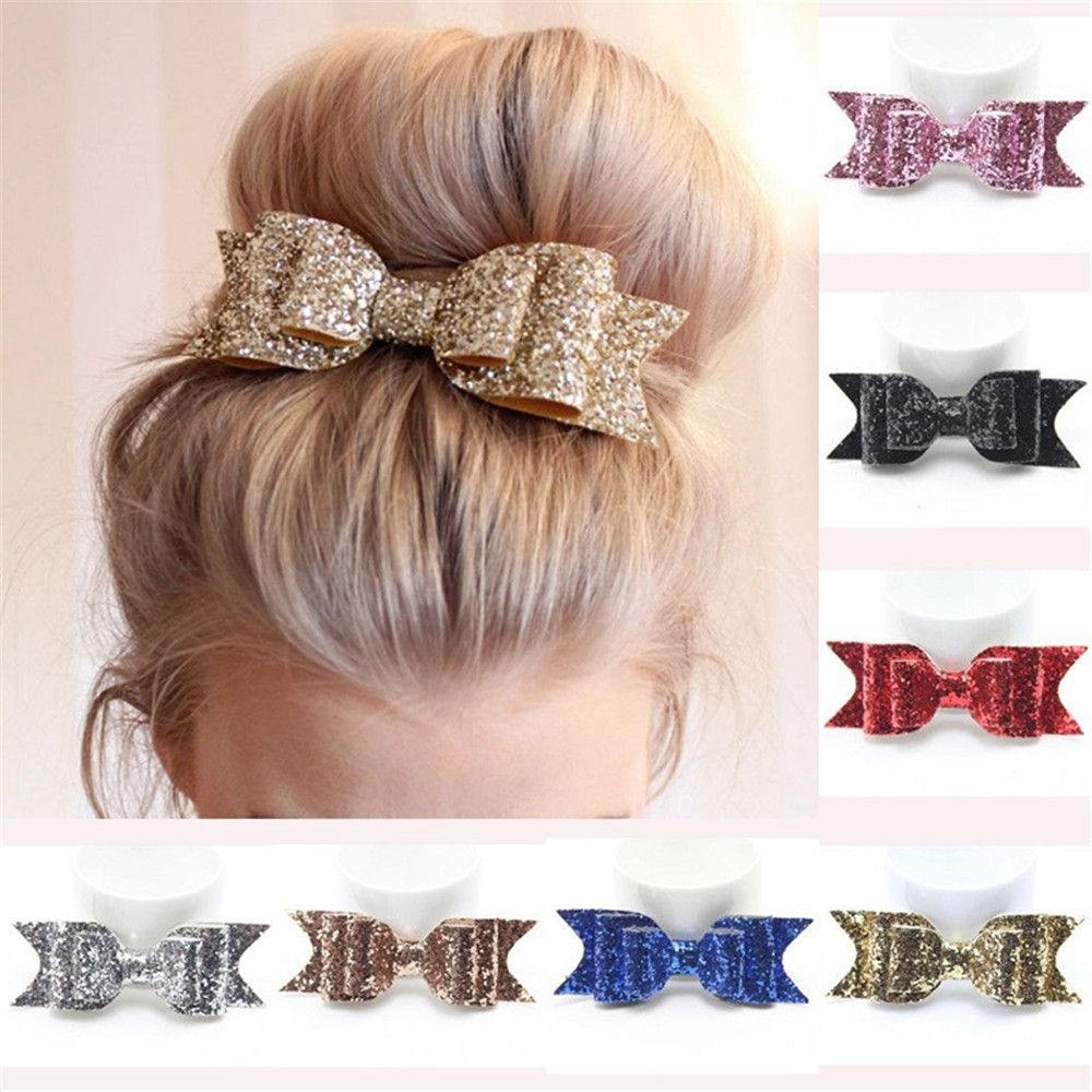 1Piece 5 Inch Baby Girl Big Glitter Hair Bow Kids Hairpins Hair Clip For Children Hair Accessories Retal Hair Clip Women