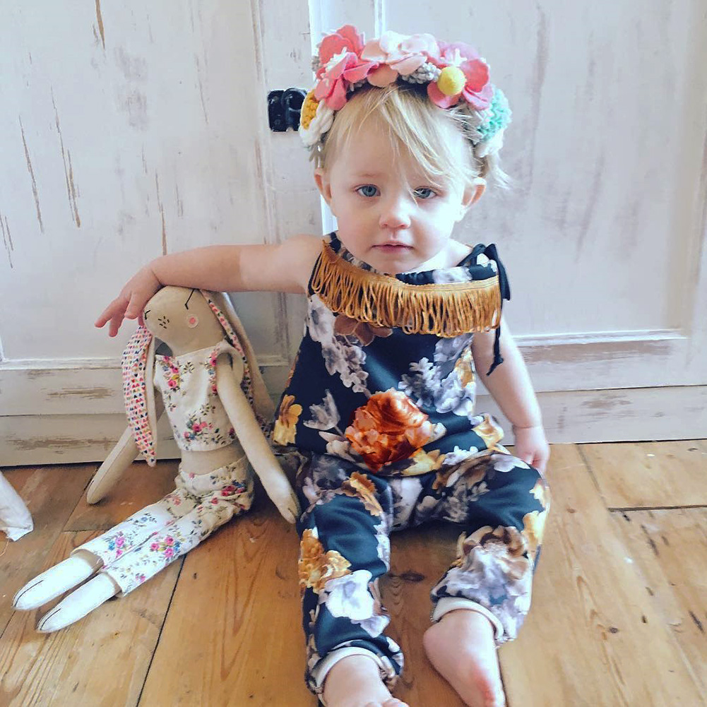 Newborn Kids Clothes Baby Girls Romper Floral Printed Tassel Sleeveless Belt Jumpsuit Children Clothing