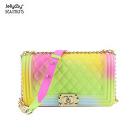 Jellyooy Beachkins Ins Chic Girl Crossbody Bag Unicorn Rainbow Color Matte Jelly Chain Bag Fashion Candy Handbags