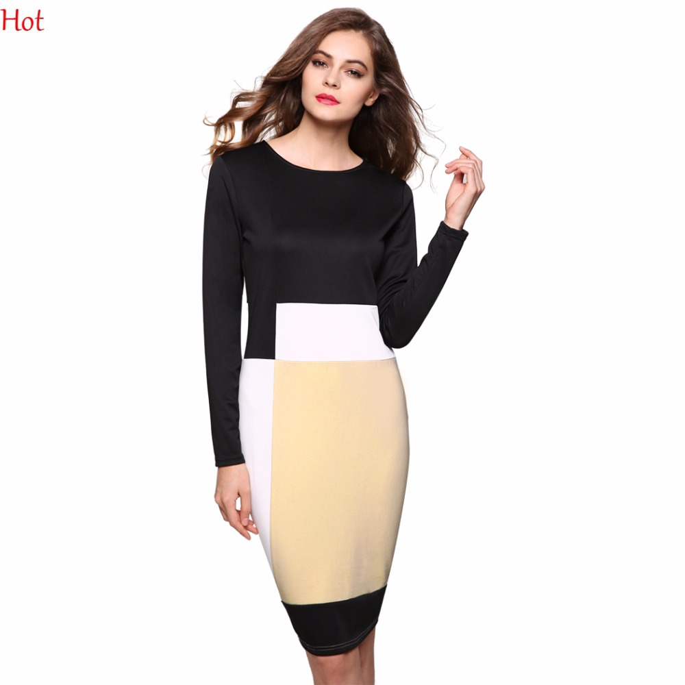 728645156c Plus Women Work Dress Long Sleeve Fit Bodycon Dresses Knee Length Geometric  Patchwork Office Stretch Party Pencil Dress YC000873-in Dresses from  Women s ...