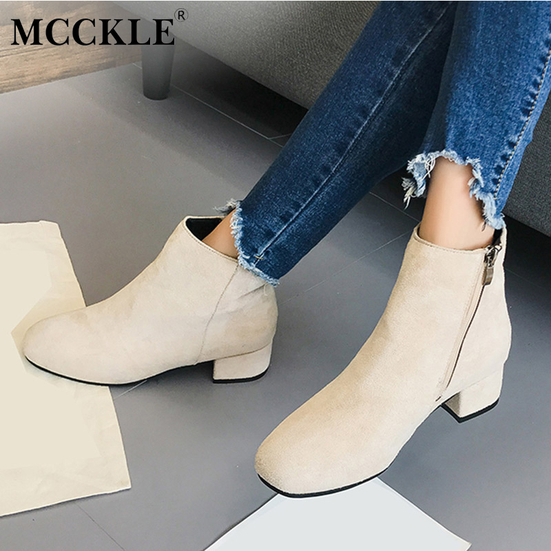 MCCKLE Woman 2017 Slip On Zip Ankle Boots Women's Thick Heel Quality High Flock Spring Autumn Casual Black Solid Style Shoes mcckle women high heels ankle boots female buckle slip on suede shoes woman platform spring autumn casual shoes black size 35 39