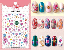 3 sheet 3 type Japanese Ultrathin Nail Stickers Designs Gummed 3D Nail Art Stickers Decals Makep Art Decorations HanYi121-123