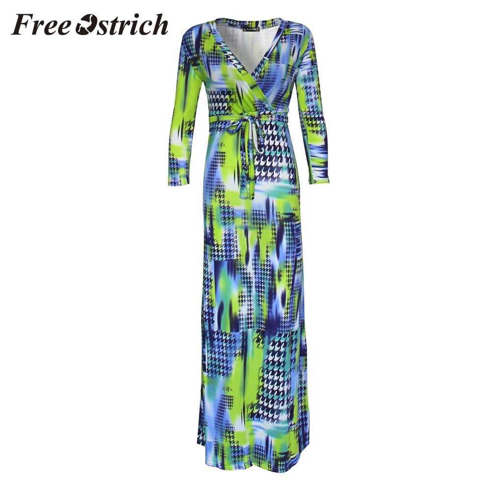 1890b0e2875f5 Free Ostrich 2019 Women Printing Casual Boho Maxi Long Sleeve Beach  Floor-length Belt Long Dresses Bohemian Sheath Sashes Dress