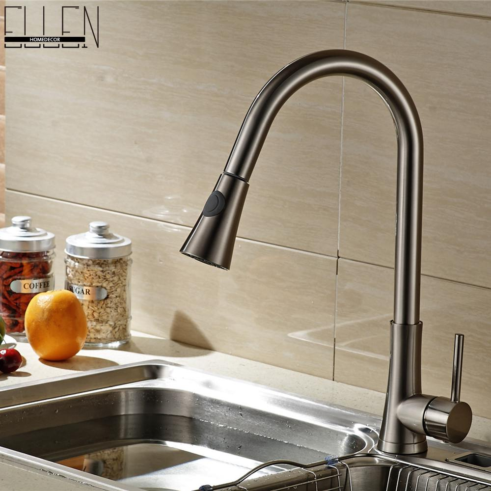 Brush Nickel Kitchen Faucet Hot and Cold Pull Out Kitchen Sink Water Mixer Tap Spray Spout