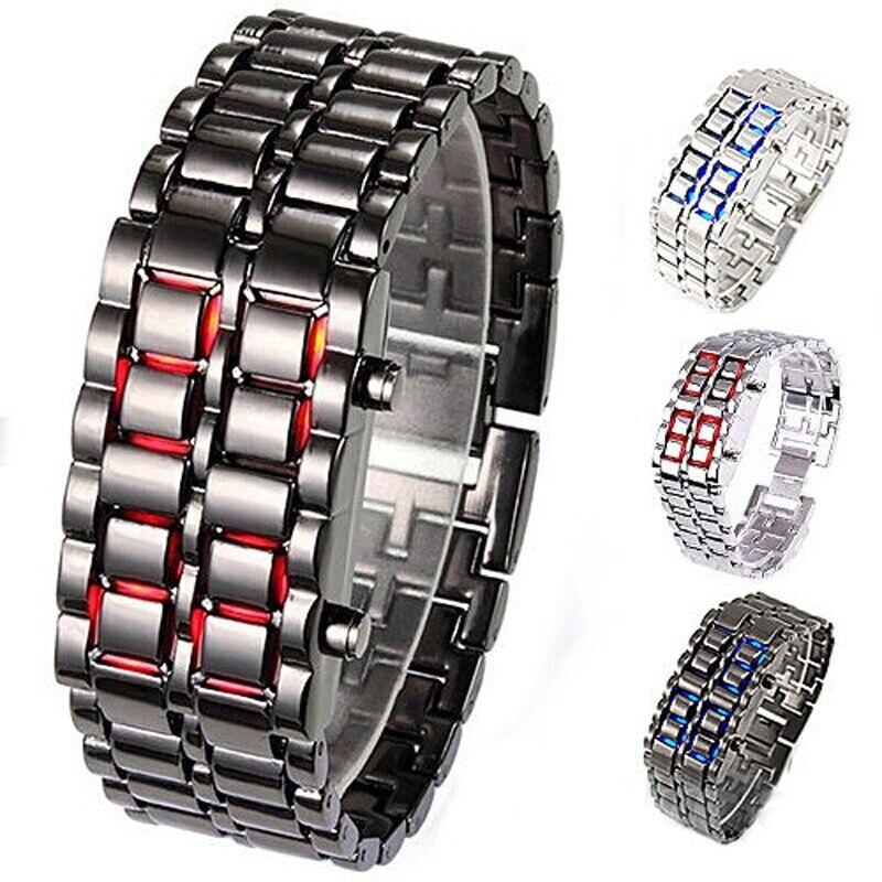 Lave fer samouraï montre pour hommes de luxe en acier inoxydable bande montres LED hommes sport électronique montre LED montre numérique reloj hombre