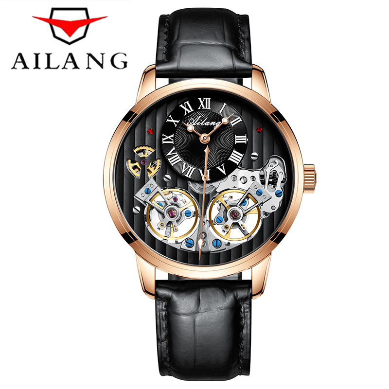 Luxury AILANG Brand Men Automatic Mechanical self-wind Sapphire Watches Calendar Waterproof Genuine Leather Strap Skeleton Watch