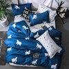 כחול כוכבים דובי פסים מצעים סט פוליאסטר סופר רך שמיכה כיסוי שטוח גיליון ציפית מלא מלכת גודל מלך 4/ 3 pcs