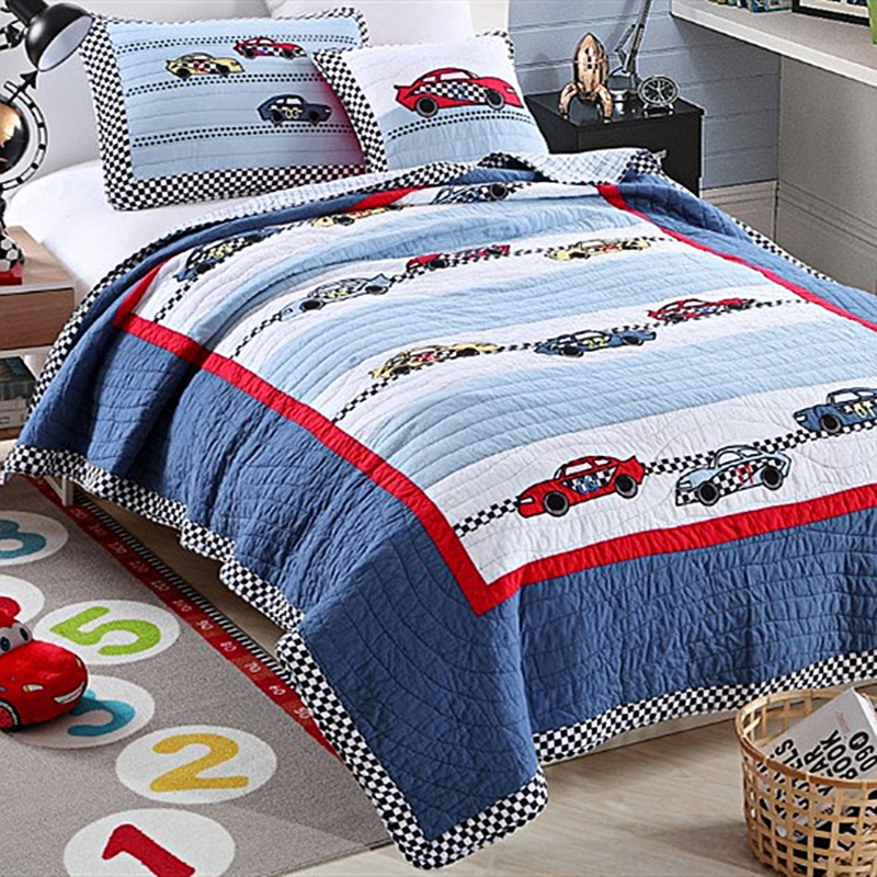 chausub cartoon kids quilt set 2pc soft cotton quilts patchwork bedspread racing car design bed. Black Bedroom Furniture Sets. Home Design Ideas