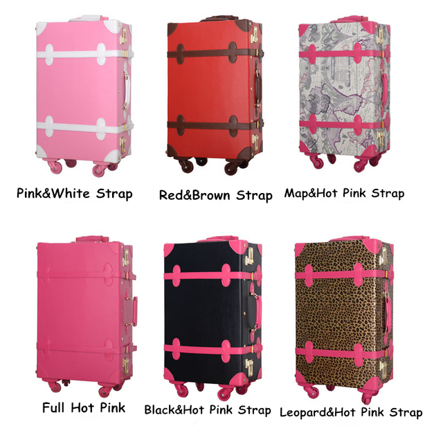 Vintage PU trolley travel bag travel box red married luggage suitcases female,14 20 22 24 korea retro pu travel luggage sets