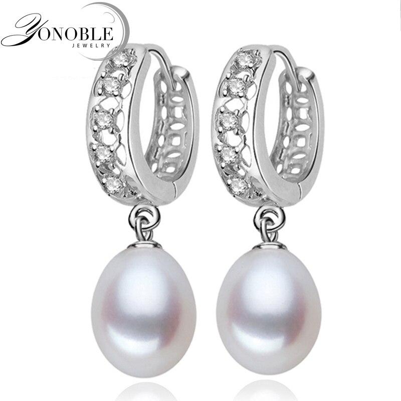 Echt süßwasser perle ohrringe für frauen, 925 sterling silber perle ohrringe feine weiße perle ohrringe schmuck brincos perolas