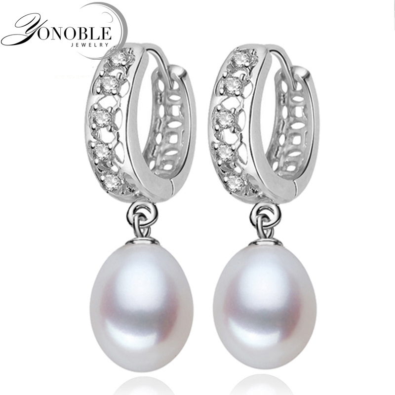 Real freshwater pearl earrings for women,925 sterling silver pearl earrings fine white pearl earrings jewelry brincos perolas daimi cultured freshwater pearl earrings 925 silver 8 9mm perfect round pearl earrings elegant fine earrings