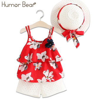 Humor Bear 2018 Children Clothes Nwe Style Fashion Girls Clothes Print Condole Belt Coat + Shorts +Hat  kids Clothing Of 2-6 Y