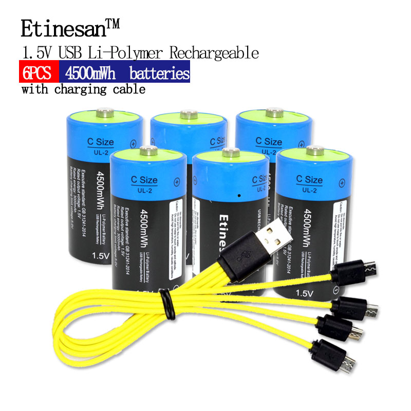6pcs/lot Etinesan 1.5V 3000mAh Li-polymer Lithium Rechargeable Battery C Size Batteries C Li-ion Battery with USB Charging Cable 30a 3s polymer lithium battery cell charger protection board pcb 18650 li ion lithium battery charging module 12 8 16v
