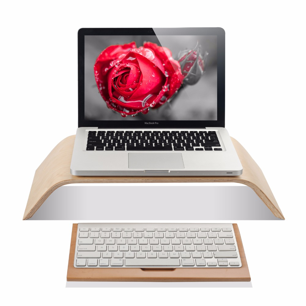 laptop birch wood stand holder riser for imac macbook bamboo wood keyboard stand for apple 1st. Black Bedroom Furniture Sets. Home Design Ideas