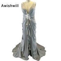 New Elegant Grey Evening Dresses Long V Neck Appliques Elastic Satin Women Formal Party Dresses Gowns