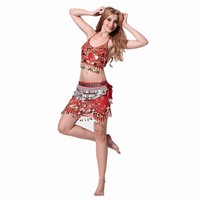 Belly Dance Spaghetti Strap Butterfly Short Skirt Set 338 Huazhung Oboists Diamond Belly Chain Piece Set