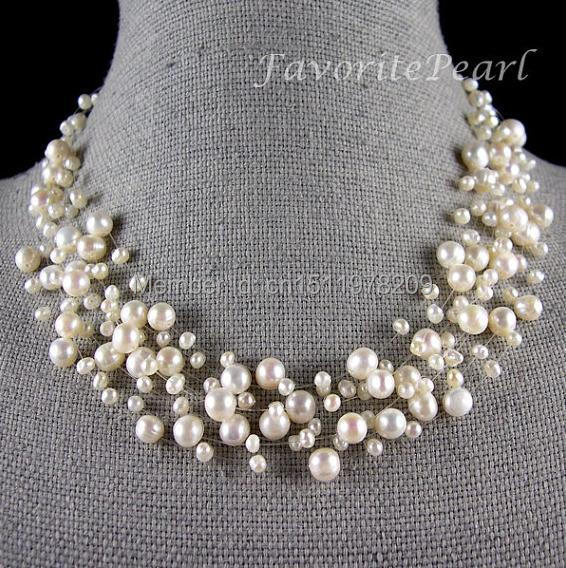 Pearl Necklace Bridesmaid Wedding Jewelry Multistrand Necklace Floating Illusion Genuine Pearl Jewelry – Free Shipping