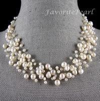 collana di perle damigella d'onore wedding jewelry multistrand collana illusione di galleggiamento jewelry pearl genuine - trasporto libero