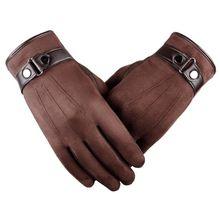 winter gloves men Faux suede Leather Full finger Anti Slip W