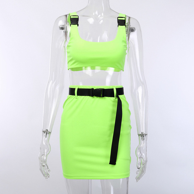 Women 2 Pieces Sets Sexy Buckle Bralette Tank And Skirt With Belt Fashion 2019 Summer Ladies Neon Pink Cropped Top Dress Suit 4