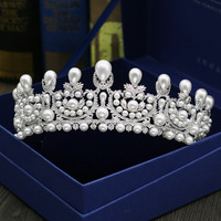 MANWIIHigh grade micro pearl crown full zircon wedding headdress bride hair ornaments dress accessoriesHL1657