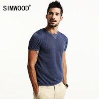 SIMWOOD 2017 Linen T Shirts Men Short Sleeve Curl Hem Fashion Slim Fit Casual T Shirts
