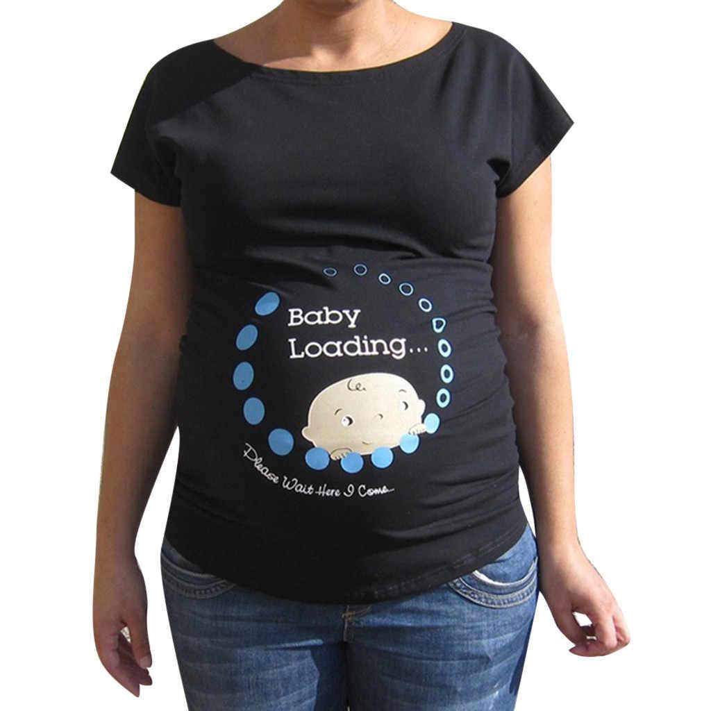 ผู้หญิงตั้งครรภ์เด็กน่ารักพิมพ์ Plus ขนาดตลกเสื้อยืดคลอดบุตร Lady Tops embarazo y maternidad ropa de maternidad พยาบาล