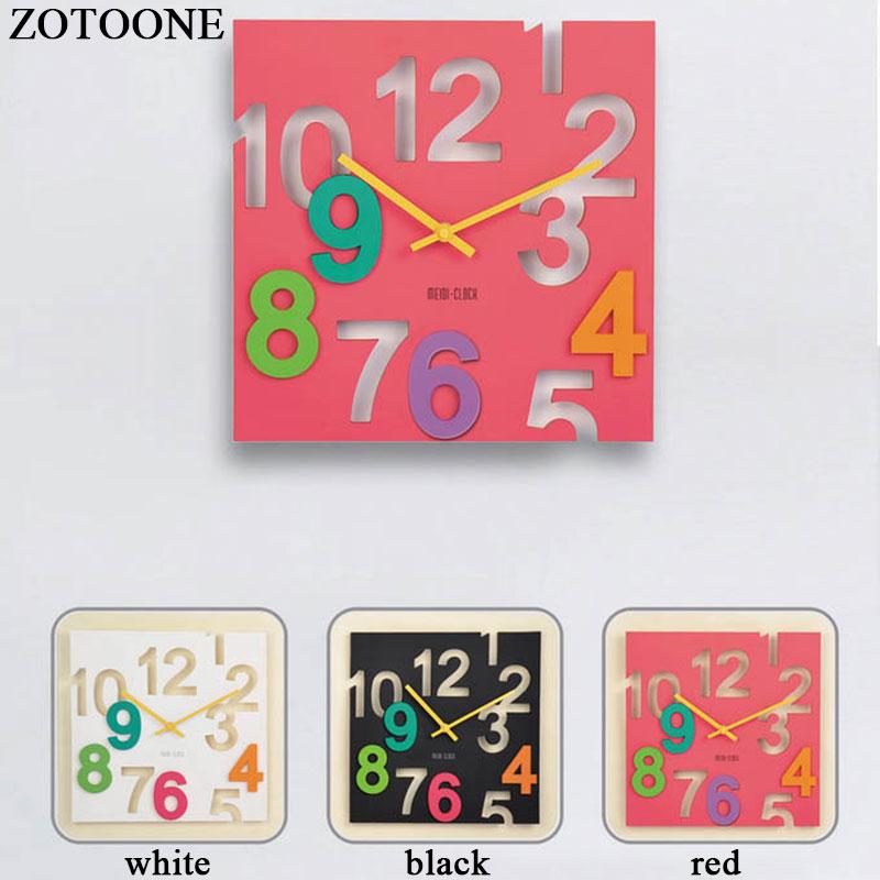 ZOTOONE DIY 3D Vinyl Wall Clock Modern Design Home Decor Fashion Silent Clock on The Wall Watch For Living Room Decorative D