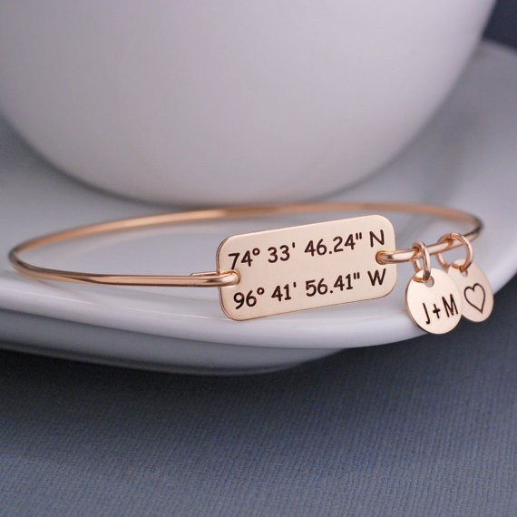 Laude Longitude Bracelet Anniversary Customize Coordinate Jewelry Personalized Location Gift For Wife Ylq0280 In Bangles From